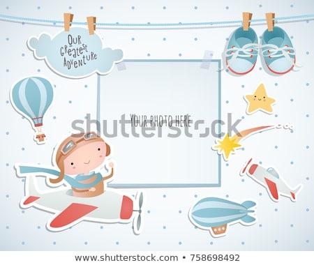 Bebê chuveiro cartão brinquedos aniversário fundo Foto stock © balasoiu