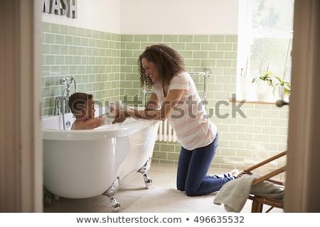Kąpieli czasu mydło gumy baby tle Zdjęcia stock © Sandralise
