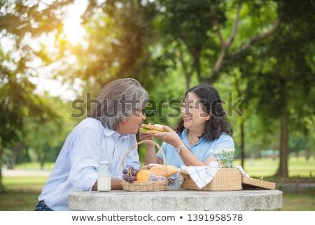 два пару завтрак улице оранжевый таблице Сток-фото © photography33