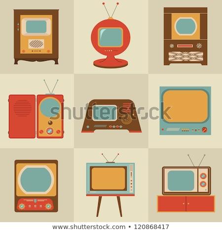 Stock fotó: Elegáns · klasszikus · tv · ikon · sötét · színek