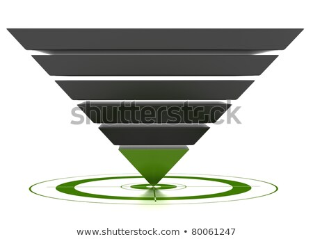 Conversion funnel over a white background with a target Stock photo © m_pavlov