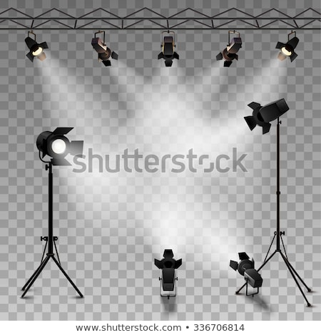 Estúdio iluminação equipamentos de iluminação isolado branco luz Foto stock © kitch