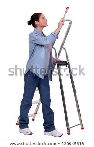 Female decorator stood on step-ladder Stock photo © photography33