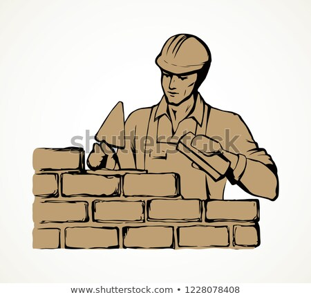 A stonemason holding a trowel Stock photo © photography33