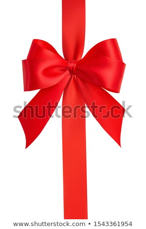 Foto stock: Red Vertical Gift Bow Isolated On White Backg