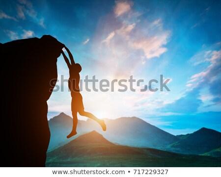 3d man climbing mountain stock photo © ribah