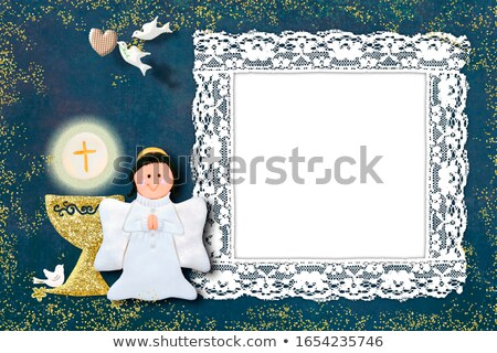 background cheerful first communion, chalice and angel Stock photo © marimorena