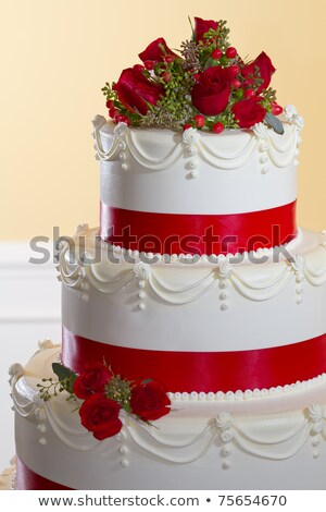 Stock fotó: White Layered Wedding Cake With Roses On Top