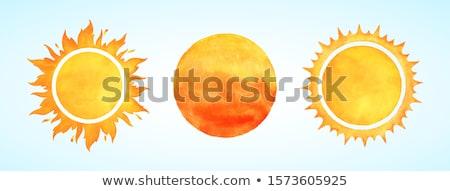 sole · fuoco · bambino · nube · vettore · sfondo · bianco - foto d'archivio © zzve
