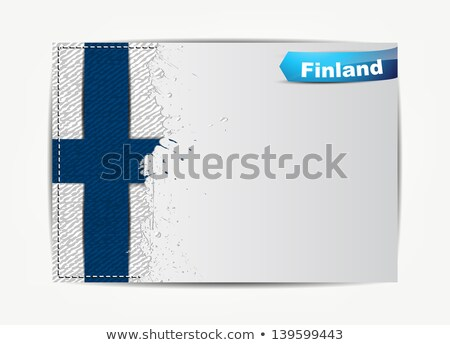 Stitched Finland flag with grunge paper frame Stock photo © maxmitzu