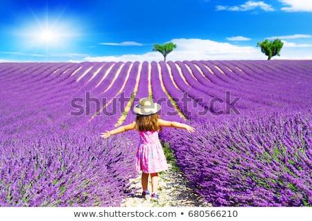 Yürüyüş çiçekler güzel genç kadın gökyüzü kız Stok fotoğraf © Steevy84