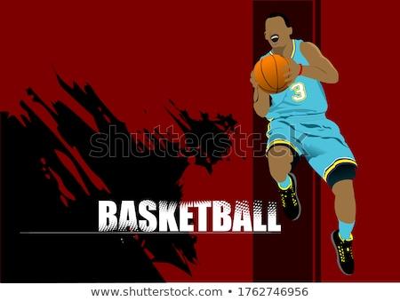 Basketbol oyuncular renkli adam eğitim sepet Stok fotoğraf © leonido