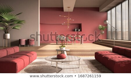 Red Dining table Stock photo © dvarg