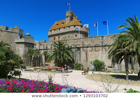 Park by the walls of the city of St. Malo, France Stock photo © neirfy