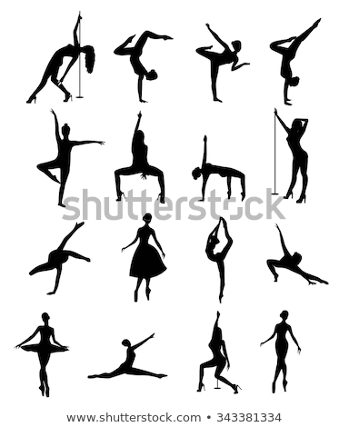 Illustration of silhouette of a dancing girl on a pole Stock photo © Glenofobiya