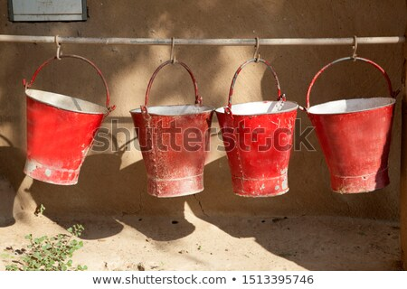 red fire buckets filled with sand   Stock photo © meinzahn