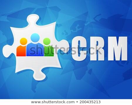Crm kék kirakó darabok üzlet vásárló kapcsolat Stock fotó © tashatuvango