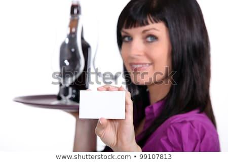 happy waitress holding tray with a blank card stock photo © rob_stark