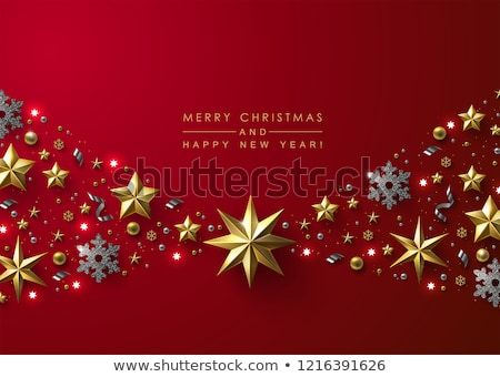 Stock photo: Merry Christmas Card Snowflakes - Gold Vector Background