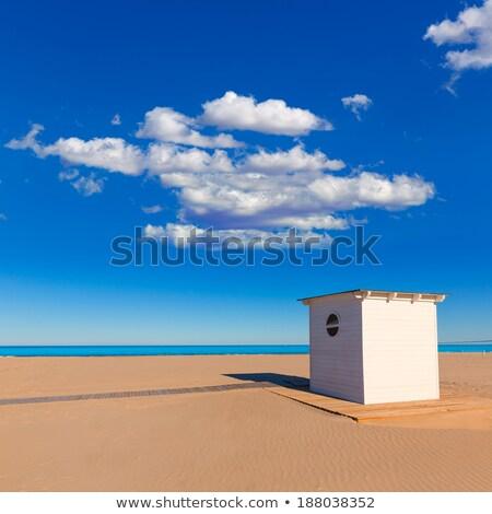 Tengerparti homok mediterrán tenger Spanyolország felhők természet Stock fotó © lunamarina