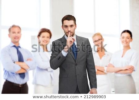 biznesmen · ciszy · pracy · tie · zawodowych · palec - zdjęcia stock © stevanovicigor