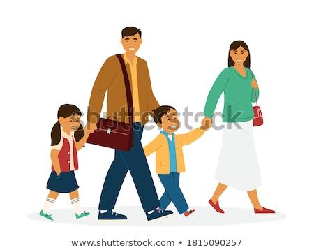 Stockfoto: Vader · dochter · holding · handen · lopen · gelukkig · asian