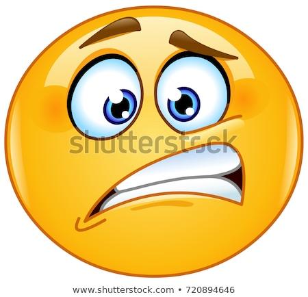 Emotikon szégyenkezve arc érzelem ikon illusztráció Stock fotó © carbouval