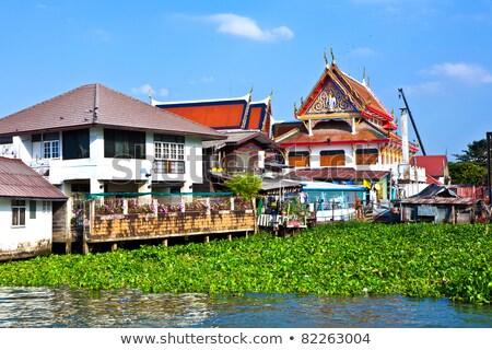 Tapınak nehir Bangkok ibadet mimari çatı Stok fotoğraf © meinzahn