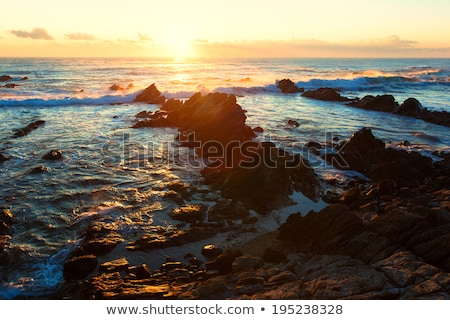 Beautiful sunrise over cretaceous sedimentary rock coastline Stock photo © shihina