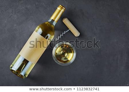 Stockfoto: Lege · glas · wijn · flessen · witte · reflectie