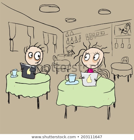 girl in cafe flirting ogle vector cartoon stock photo © orensila