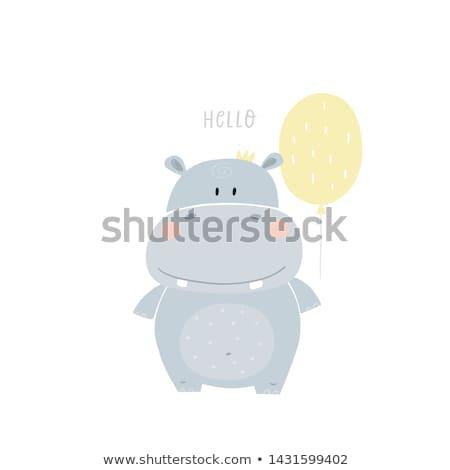 sorridere · ippopotamo · illustrazione · animale · cartoon · viola - foto d'archivio © liliwhite