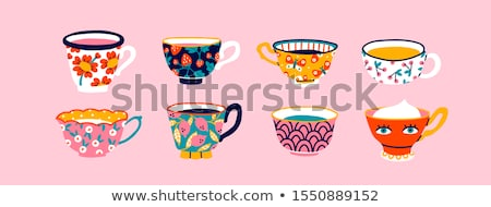 beautiful pink ceramic mug of hot drink stock photo © nalinratphi