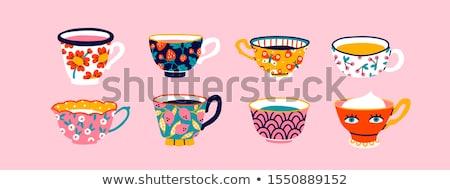 Mooie roze keramische mok warme drank voorraad Stockfoto © nalinratphi