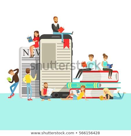 Elektronische boek lezer dekken boeken rij Stockfoto © AndreyKr