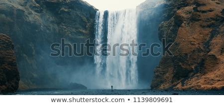 Azul cachoeira belo rochas primavera folha Foto stock © simply