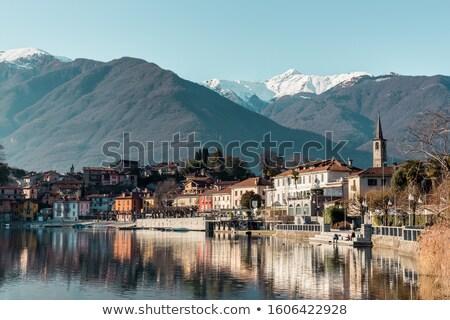 Lago italiano cidade alpes nuvens floresta Foto stock © MichaelVorobiev