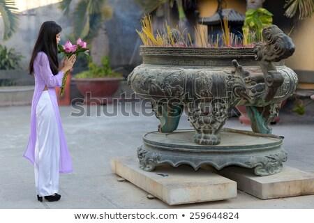 женщину · молиться · молодые · азиатских · красоту · платье - Сток-фото © smithore