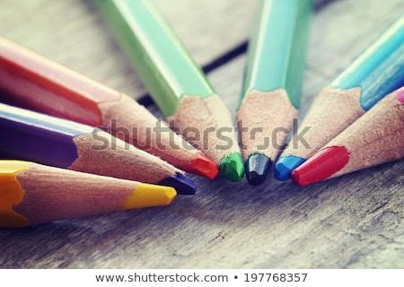 Klasszikus zsírkréták piros csésze notebook faburkolat Stock fotó © jarin13