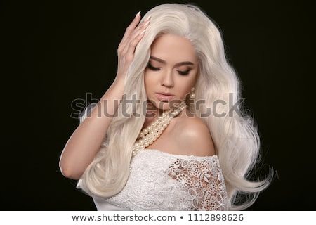 Long hair. Fashion Blond girl with white wavy hairstyle. Expensi Stock photo © Victoria_Andreas