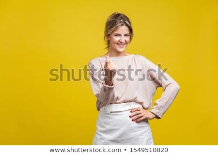 fiatal · szőke · nő · lány · piros · rövid · ruha - stock fotó © acidgrey