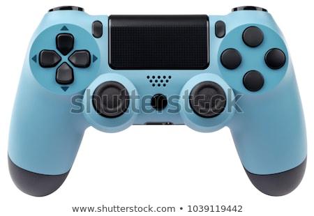 Foto stock: Controlador · de · jogo · preto · controlar · consolá · azul · backlight