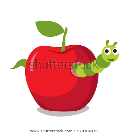 boekenworm · appel · cartoon · rups · worm · cute - stockfoto © cteconsulting