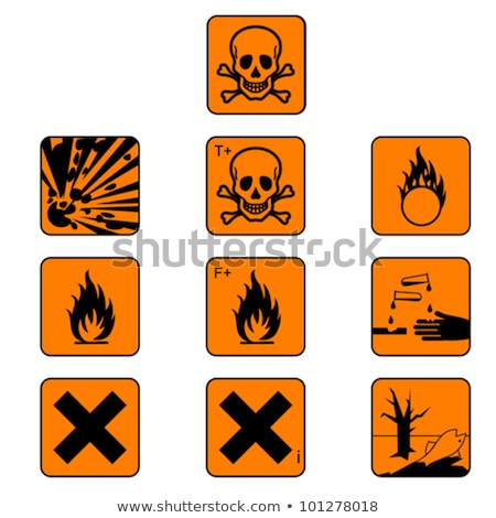 Warning Sign Orange Vector Button Icon Design Set Stock photo © rizwanali3d