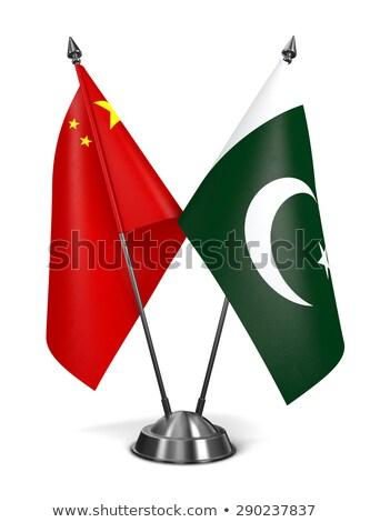 Çin Pakistan minyatür bayraklar yalıtılmış beyaz Stok fotoğraf © tashatuvango