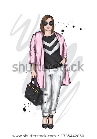 プラスサイズ ショッピング 女性 市 家 少女 ストックフォト © carodi