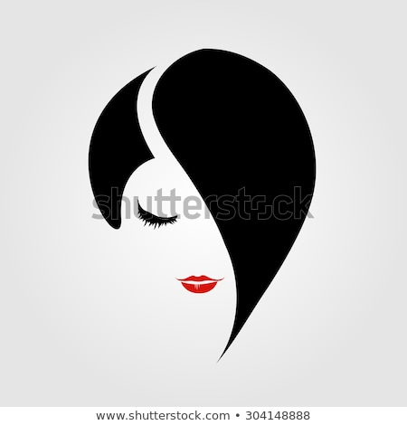 Woman with red lipstick and emo hairstyle  Stock photo © shawlinmohd