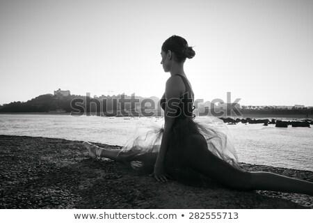 Wdzięczny baleriny czarny biały Zdjęcia stock © bezikus