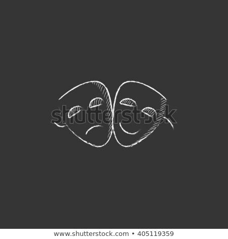 ストックフォト: 2 · マスク · アイコン · チョーク