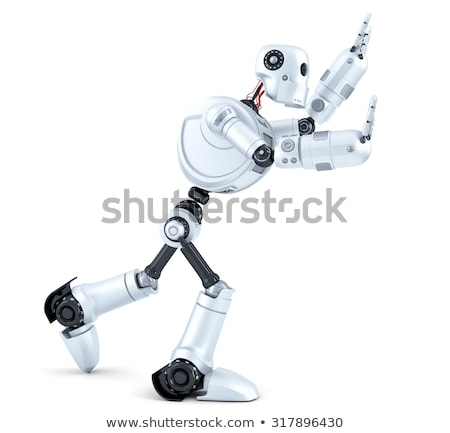 3d Robot pushing an invisible object. Isolated. Contains clipping path Stock photo © Kirill_M